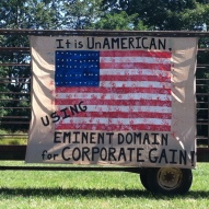 Eminent Domain Banner in Hayfield